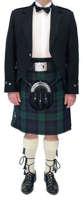 Black Argyll Jacket with Black Watch Tartan Kilt