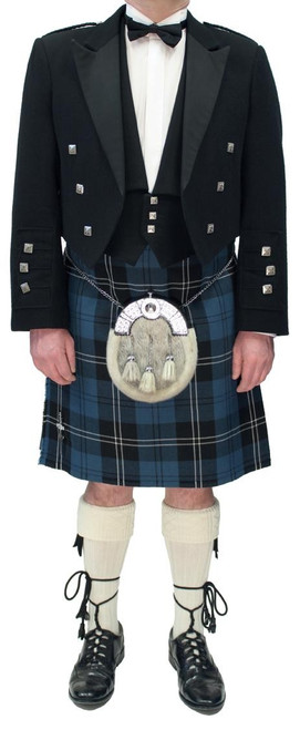Black Prince Charlie Jacket with Blue Ramsay Tartan Kilt