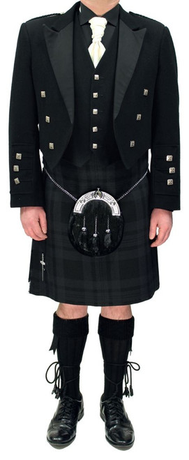Black Prince Charlie Jacket with Black Isle Tartan Kilt