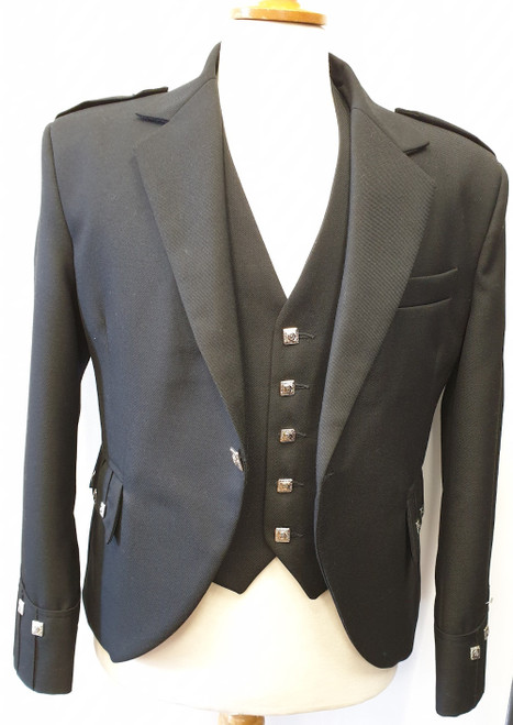 Argyll Jacket and 5 Button Waistcoat, Poly Wool Mix - Black. Special Offer