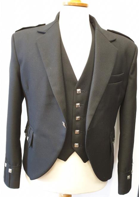Black Argyll jacket and 5 button waistcoat