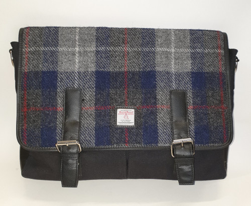 Harris tweed messenger bag - blue check, front