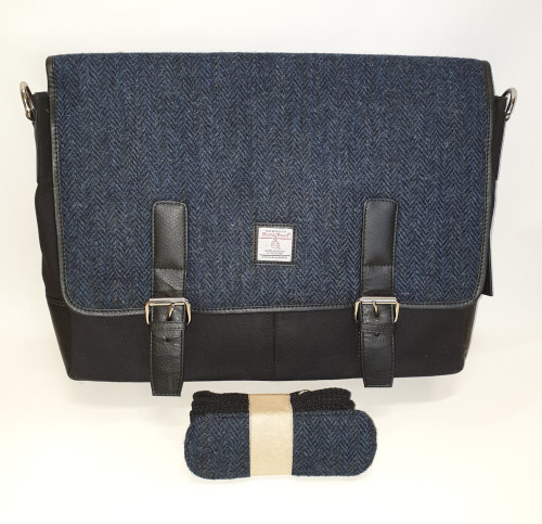 Harris tweed messenger bag - blue, front