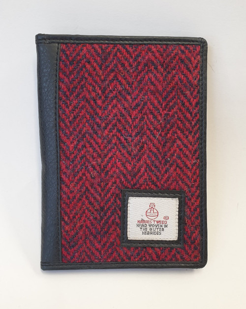 Harris tweed wallet - burgundy, front