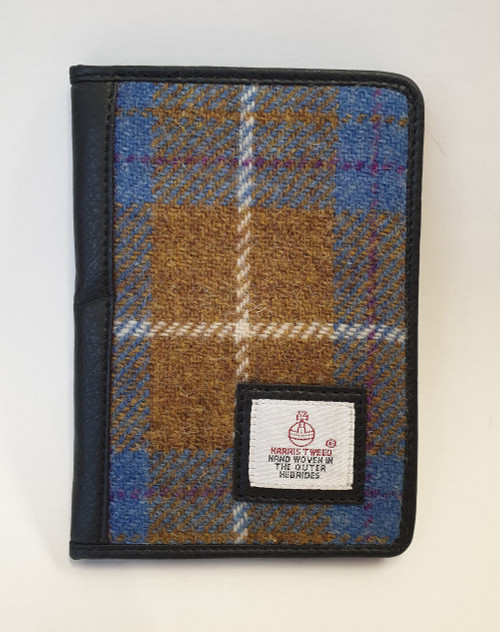 Harris tweed wallet - brown and blue check, front