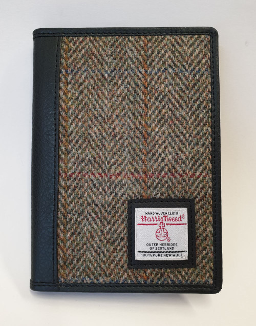 Harris tweed wallet - brown, front