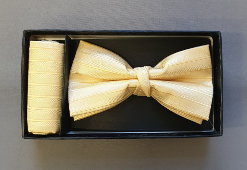 Bow-tie and pocket square - Yellow pin stripe