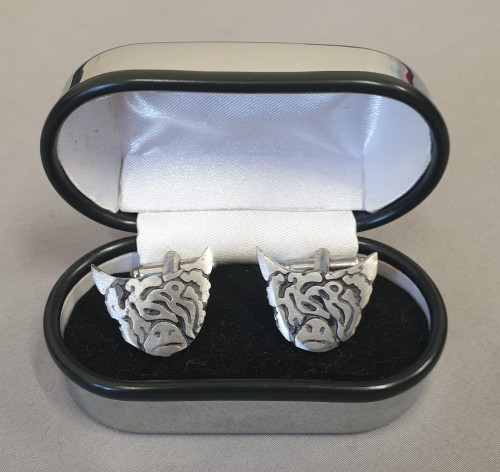 Pewtermill cufflinks, highland cow