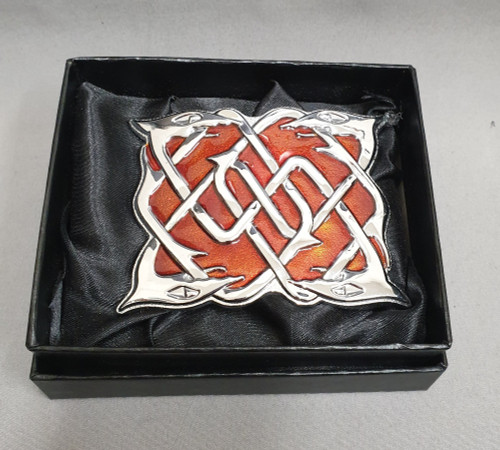 Belt buckle - Celtic dog, chrome with red enamel