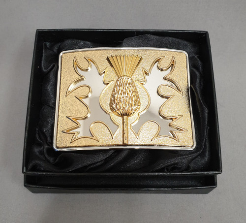 Thistle belt buckle - brass on chrome