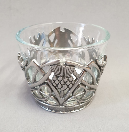 Glass and pewter tealight holder - Stag and thistle