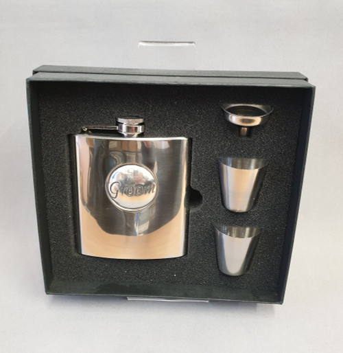 Stainless steel flask gift set - Groom