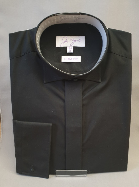 Edwardian collar black shirt, slim fit