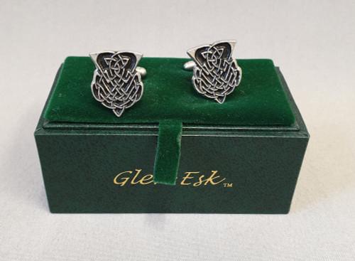 Thistle cufflinks with black enamel