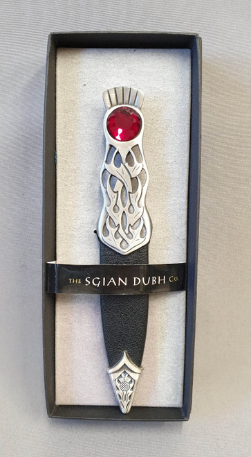 Pewter sgian dubh with red stone