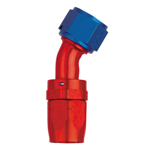 30˚ Elbow Fitting - Reusable Red/Blue Anodized Aluminum Swivel S.A.E. 37˚ (JIC/AN)