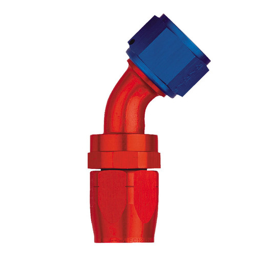 45˚ Elbow Fitting - Reusable Red/Blue Anodized Aluminum Swivel S.A.E. 37˚ (JIC/AN)