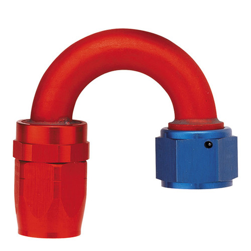 180˚ Elbow Fitting - Reusable Red/Blue Anodized Aluminum Swivel S.A.E. 37˚ (JIC/AN)