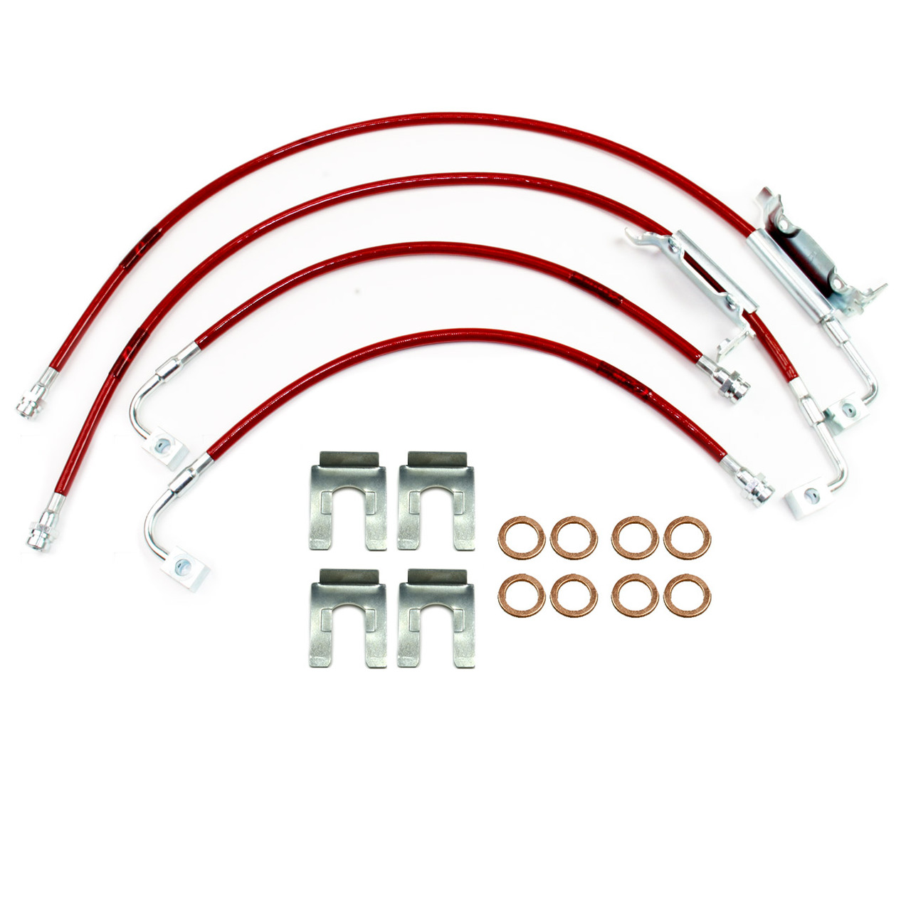 Pro Braking PBK4707-BLK-RED Front//Rear Braided Brake Line Black Hose /& Stainless Red Banjos