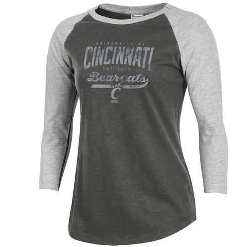 Cincinnati Bearcats Champion Women's Grey Scarf/Oxford Heather Rochester Baseball Tee