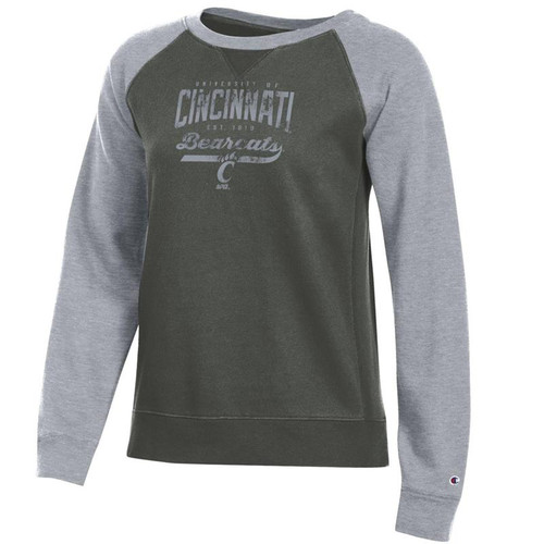 Cincinnati Bearcats Champion Women's Grey Scarf/Oxford Heather Rochester Fleece Crew