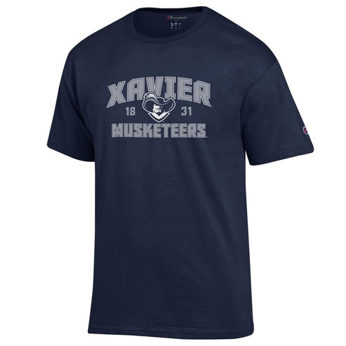 Xavier Musketeers Champion Arched Mascot Logo Navy T-Shirt
