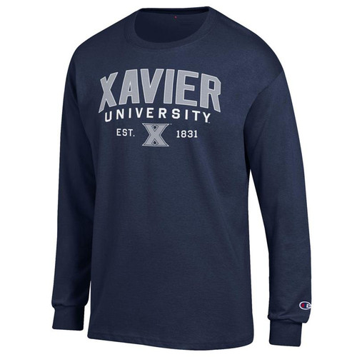 Xavier Musketeers Champion Arched University Logo Navy Long Sleeve T-Shirt