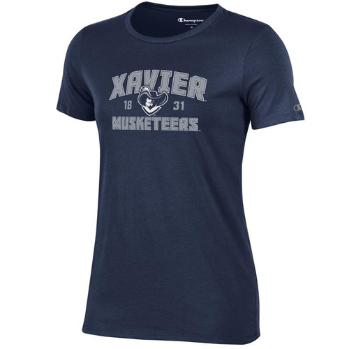 Xavier Musketeers Women's Champion Arched Mascot Logo Navy T-Shirt