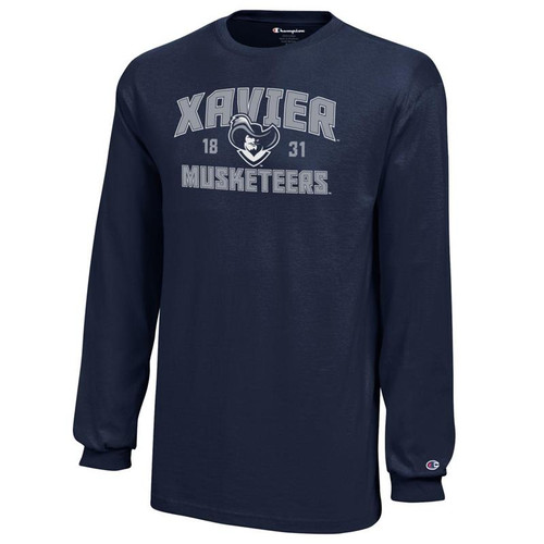 Xavier Musketeers Youth Champion Arched Mascot Logo Navy Long Sleeve T-Shirt