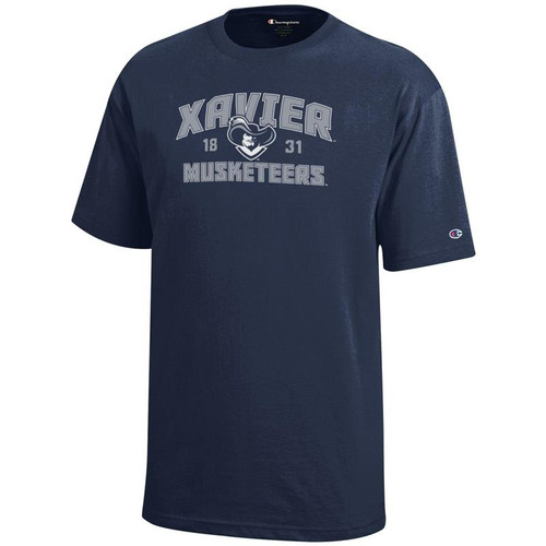 Xavier Musketeers Youth Champion Arched Mascot Logo Navy T-Shirt