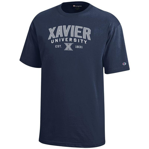 Xavier Musketeers Youth Champion Arched University Logo Navy T-Shirt