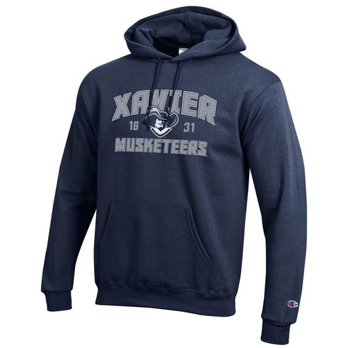 Xavier Musketeers Champion Arched Mascot Logo Navy Powerblend Pullover Hoodie