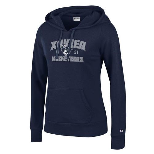 Xavier Musketeers Women's Champion Arched Mascot Logo Navy Eco University Fleece Hoodie
