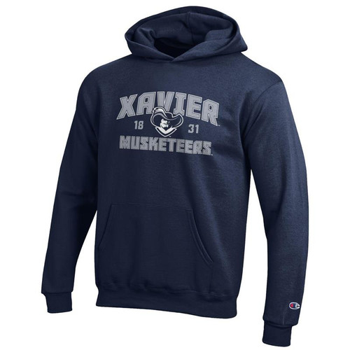 Xavier Musketeers Youth Champion Arched Mascot Logo Navy Powerblend Pullover Hoodie