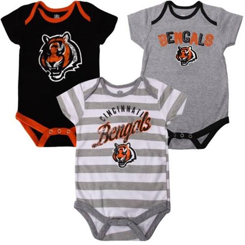 Cincinnati Bengals Infant Field Goal 3-Piece Creeper Set - Black/Striped/Gray