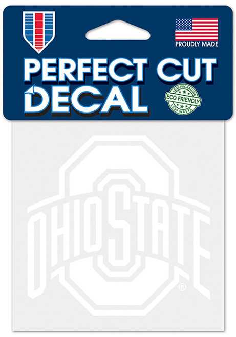 """Ohio State Buckeyes Perfect Cut Decal 4"""" x 4"""" - White"""