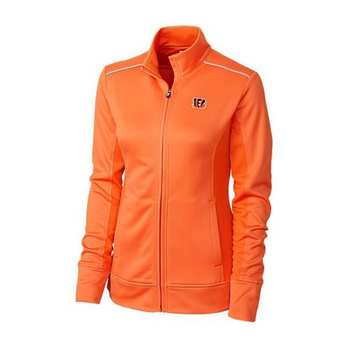 Cincinnati Bengals Women's Cutter & Buck Orange WeatherTec Ridge Full-Zip Jacket