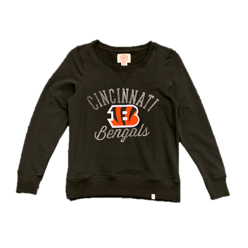 Ladies '47 Brand Black Cincinnati Bengals Arched Logo Crewneck Sweatshirt