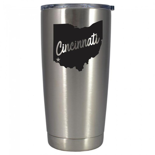 Cincinnati Polar Camel Stainless Steel 20 oz. Tumbler w/ Clear Lid