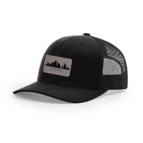 Cincinnati Skyline Trucker Snapback Hat Solid Black