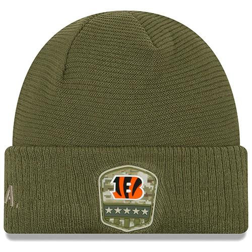 New Era Olive Cincinnati Bengals 2019 Salute to Service Sideline Cuffed Knit Hat