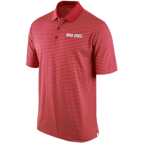 Ohio State Buckeyes Mens Red Striped Short Sleeve Polo