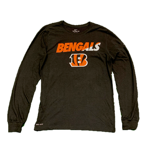 Men's Black Cincinnati Bengals Mesh Logo Performance Dri-Fit Long Sleeve T-Shirt