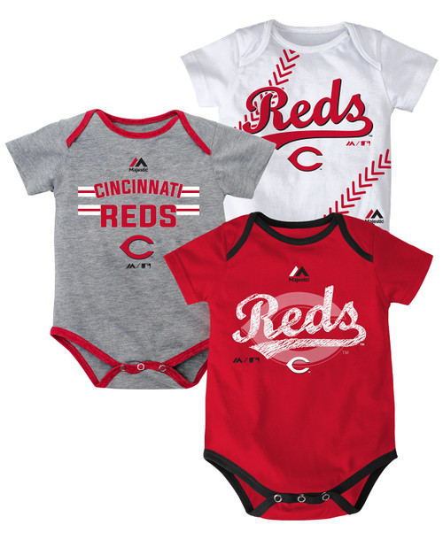 Newborn Baby Cincinnati Reds Three Strikes 3-Pack Bodysuit Set
