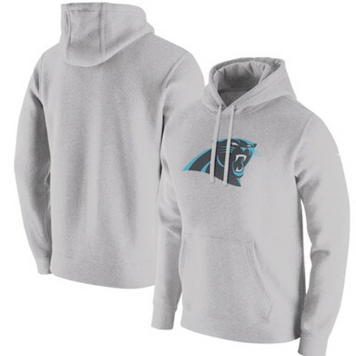 Men's Carolina Panthers Heathered Grey Club Fleece Pullover Hoodie