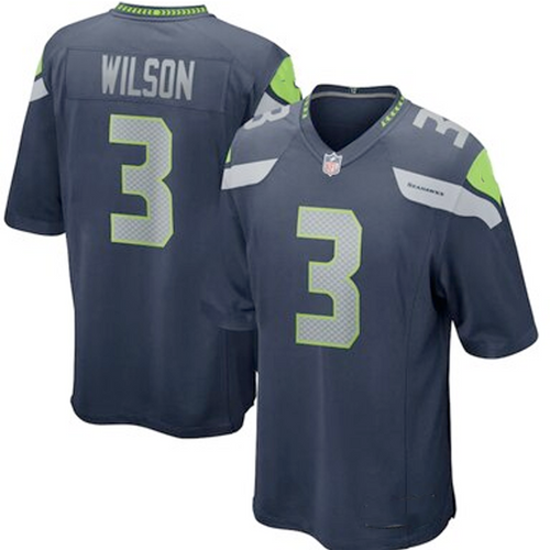 Men's Seattle Seahawks Russell Wilson Navy Game Player Jersey