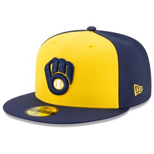 Milwaukee Brewers New Era Gold/Navy Alt 2020 Authentic Collection On Field 59FIFTY Fitted Hat