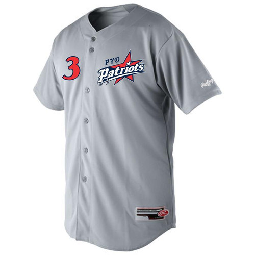 PYO Patriots Rawlings Full Button Plated Baseball Jersey
