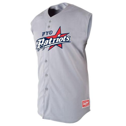 PYO Patriots Rawlings Full Button Big Logo Plated Sleeveless Baseball Jersey
