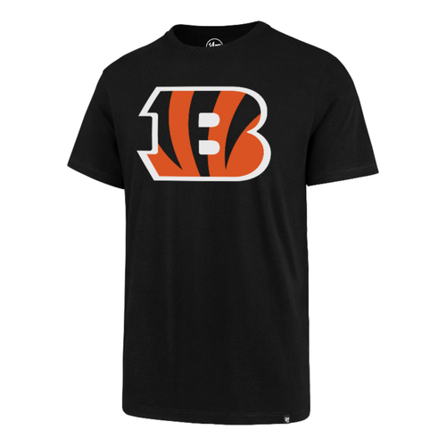 "Cincinnati Bengals '47 Brand Men's Black ""B"" Logo Imprint Short Sleeve Club Tee"